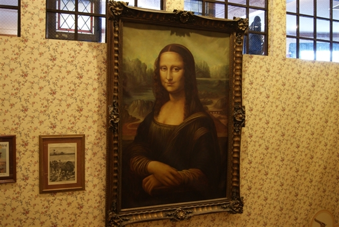 Old Western Hotel Painting of the Mona Lisa